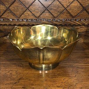 Vintage brass flower-shaped bowl planter